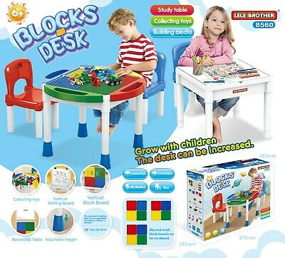 2 In 1 Kids Activity Bloks Toys Desk With 2 Chairs Children Study Table Storage