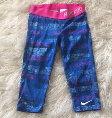 Girls Nike Pro Blue Pink Speckle Cropped Athletic Leggings Pants Size Small