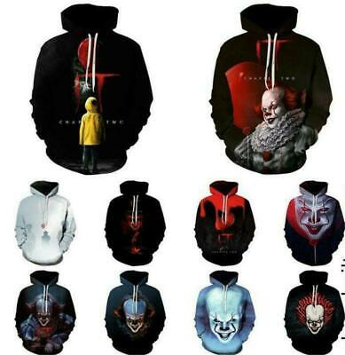 3D Clown Hoodie Stephen King It Sweatshirt Tops Pennywise Horror Chapter Two