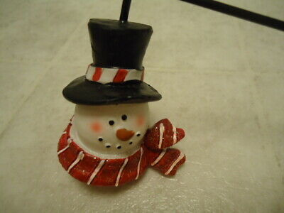 """The Finishing Touch Snowman Head Candle Snuffer W/ Candy Cane Handle Boxed 10"""" L"""