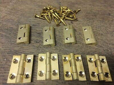 "4 PAIRS 1"" 25mm SOLID BRASS BUTT HINGES WITH SCREWS SMALL BOX DOOR solid drawn"