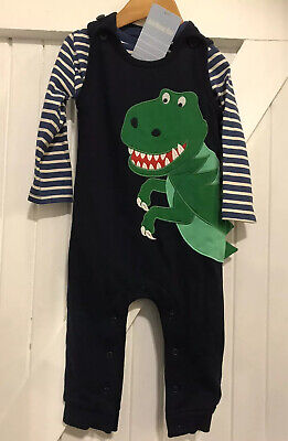 Jojo Maman bebe Age 6-12 months Dino Dungaree Set blue New with Tags