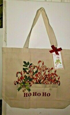 Mary Lake Thompson Christmas CANDY CANES  Canvas Reusable Tote Bag New
