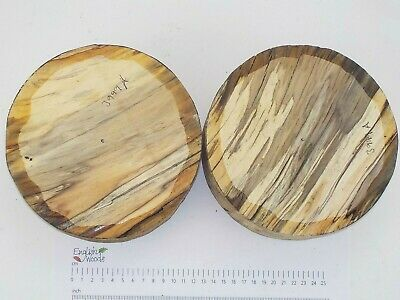 2 Punky English Spalted Beech woodturning carving bowl blanks. 180 x 68mm. 3999A