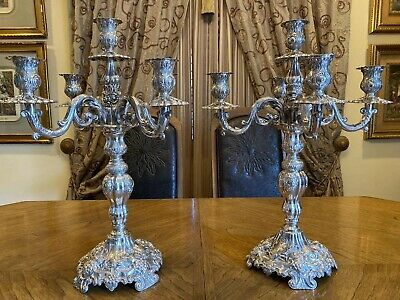 Gorgeous Pair Large Spanish Sterling Silver 925 Candelabra&Candlesticks 5 Lights