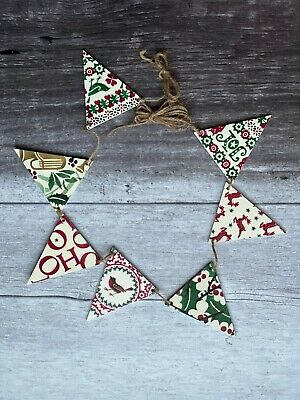 A Wooden Flag Bunting Decoupaged in 6 Emma Bridgewater Christmas Designs