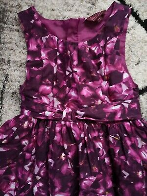Ted Baker Girls Purple Floral Midi Tutu Dress 7-8 Yrs