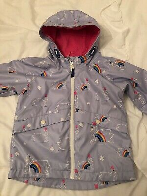 M&S KIDS girls Lilac Rainbow Swan Coat Age 3-4 (no inner Jacket) 💕