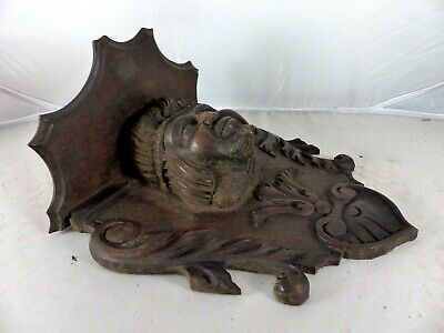 19TH Antique French Walnut Hand Carved Wood Gothic Buffoon Console Shelf Support
