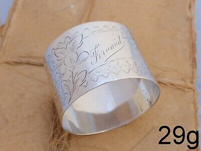 19TH Antique French Sterling Silver Napkin Ring Highly Guilloche Style Cartouche