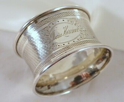 Antique French Sterling Silver Napkin Ring Guilloche Style Cartouche 19th Marie