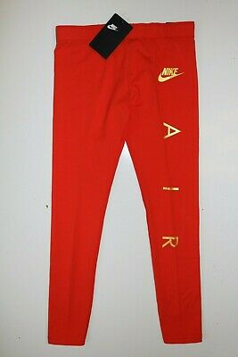 Nike Air Sport Metallic Cotton Leggings Girls - Red Aq9176-634 - M / 10-12 Years