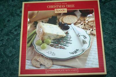 """New Spode Christmas Tree 9"""" APPETIZER PLATE w/ CHEESE KNIFE"""