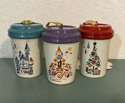 Bundle 2019 Disney Parks Disneyland CHRISTMAS HOLIDAY STARBUCKS TUMBLER ORNAMENT
