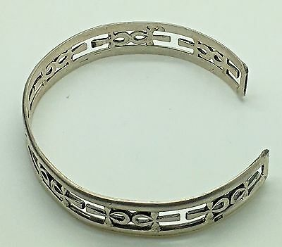"""Sterling Silver Ankh Bangle Bracelet Cut Out Egyptian Revival Religious 6 5/8 """""""