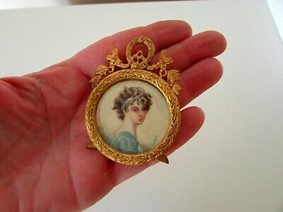 Antique French Gilt Bronze Ormolu Frame Lady Portrait Miniature Painting Signed