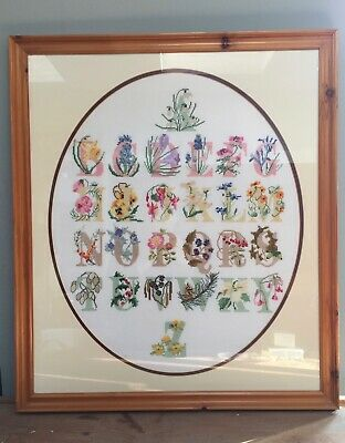 Pine Framed & Glazed Skilfully Completed Cross Stitched Alphabet Floral Sampler
