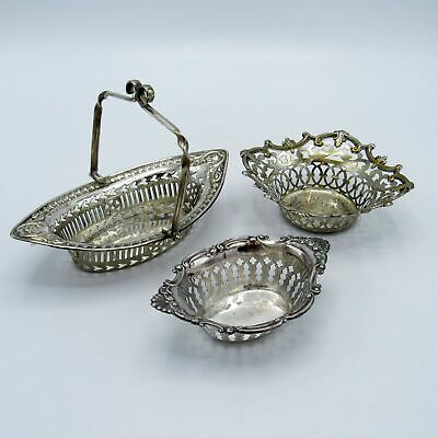 Lot of Three Antique Sterling, Silver Plated & EPNS Baskets Candy Dishes