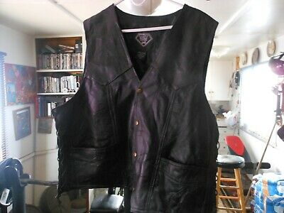 Buffalo-Leather-Polyester-Lining-3Xx-Motor-Cycle-Vest