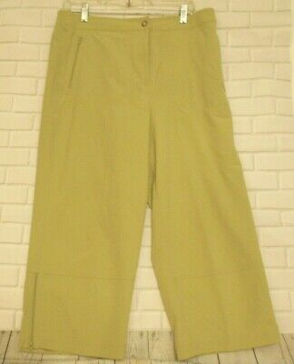 Chico's Zenergy Size 2 Green Polyester Spandex Blend Flat Front Crops Pants