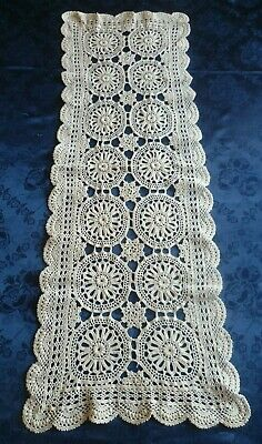 STUNNING VINTAGE HAND CROCHETED  LIGHT CREAM COTTON TABLE RUNNER 88 cms x 31 cms
