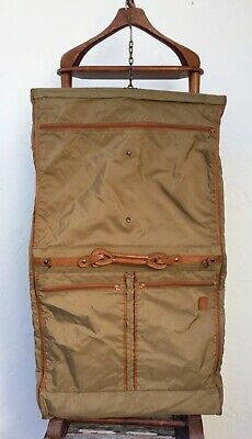 Hartmann Carry-On Nylon Leather Folding Hanging Suit Garment Bag with Hangers