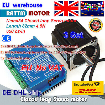 【UK】3 SET NEMA34 4.5N.m Closed Loop Servo Motor 6A&2-Phase Hybrid Driver CNC Kit