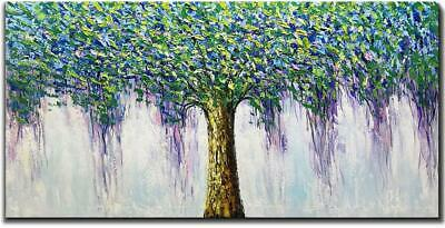 Hand Painted Green Modern Abstract Painting Trees Canvas Wall Art Framed Decor