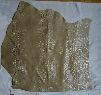 Olive Green Crocodile Embossed Leather Hide Remnant LC12