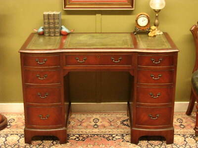 VINTAGE ENGLISH MAHOGANY + LEATHER 9 DRAWER TWIN PEDESTAL OFFICE DESK  c1960s