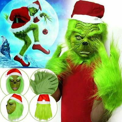 The Grinch Gloves + Head Latex Mask Wig Xmas Hat Christmas Monster Costume Prop
