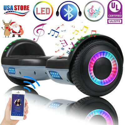 "6.5"" Bluetooth Hoverboard LED Self Balance Electric Scooter Black+Gray No Bag US"
