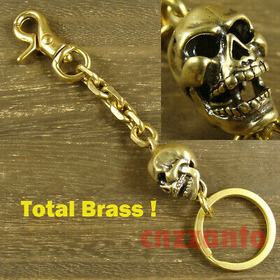 Handmade Brass key chain ring curb chain + Skull pendant + snap hook clip H596