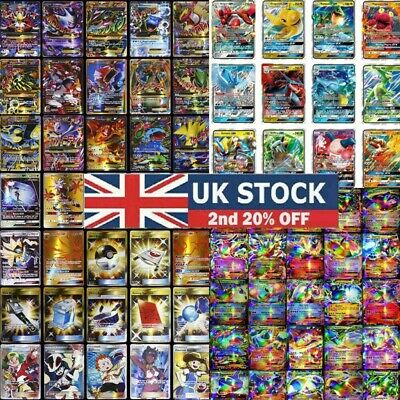 UK 100/200 Pcs GX EX MEGA Energy Pokemon Cards Holo Trading Flash Card Bundle LE