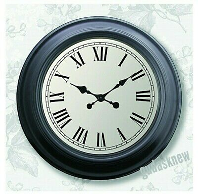 Very Large Antiqued Black and White Vintage Style Wall Clock 60 cm Diameter