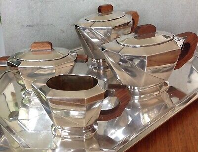 Art Deco Tea Set Silver Plate
