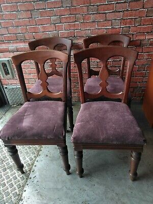 Set of Four Victorian Solid Mahogany Balloon Back/Campaign Chairs.