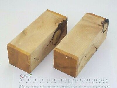 2 knotty Cedar of Lebanon woodturning or carving blanks. 75 x 75 x 210mm. 4002A
