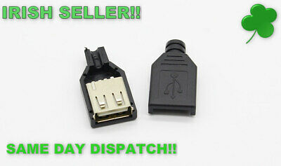 Type A Female USB 4 Pin Plug Socket Connector Adapter With Black Plastic Cover