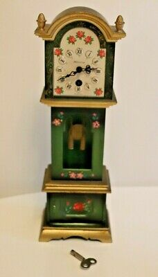 German Clock Pendulum Grandfather Mini Carved Painted Wind up Working Vintage GC
