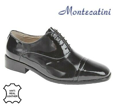 SALE - MENS FOLDED CAPPED OXFORD TIE Evening Shoes - Black Patent Leather Size 8