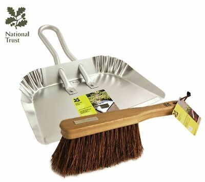 Large Garden Dustpan and Brush Set Heavy Duty Wide Strong Leaf Scoop Metal Pan