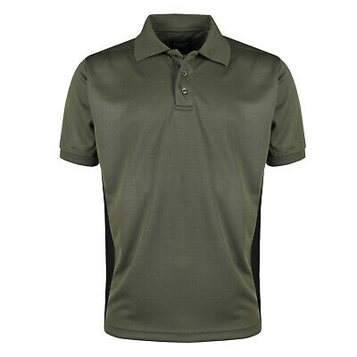 Mens Breathable Polo Shirt Short Sleeve Wicking Contrast Sports Pique Top Tee