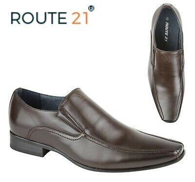 SALE - Mens Twin Gusset Tramline Slip On Smart Shoes  Brown Faux Leather Size 13