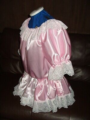 Adult Babys~Sissy~Maids~Unisex~Cd/Tv Satin & Lace Dress With Apron