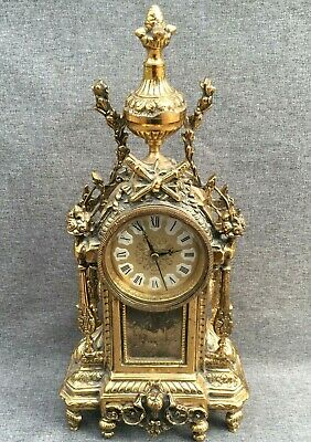 Big antique german clock brass mid-1900's quartz movement mansion castle
