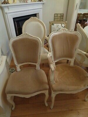 ~ 4 x vintage french style shabby chic chairs ~
