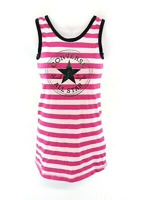 CONVERSE Girls Vest Top 10-12 Years Pink Purple Stripes Polyester & Cotton