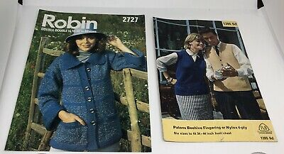 Two Vintage Knitting Patterns Robin & Patons Chunky Cardigan & 4 Ply Tank Tops