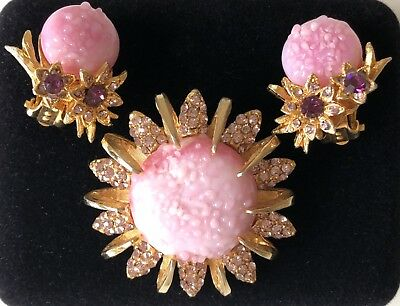 Extremely Rare vintage Elsa Schiaparelli earrings and brooch